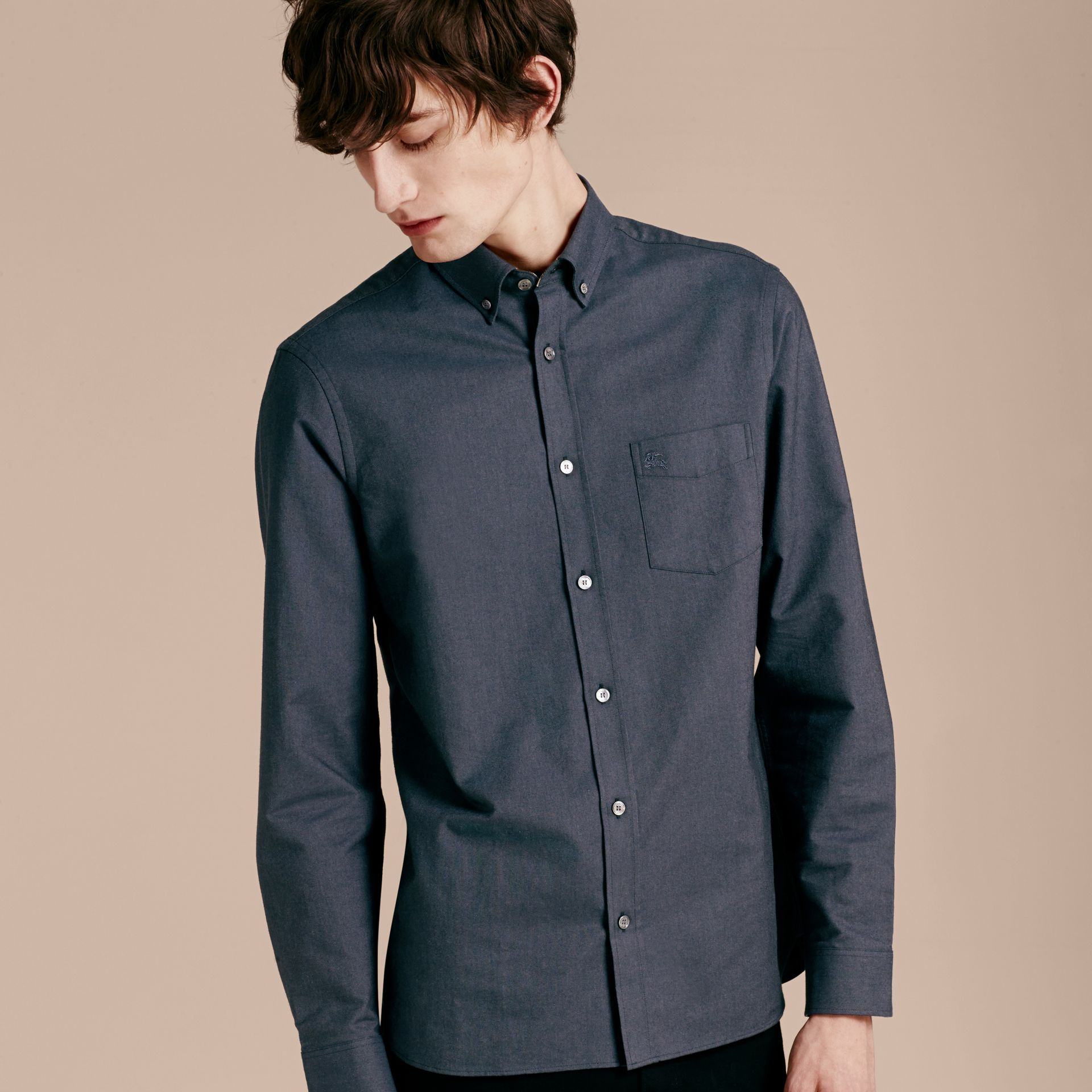 Check Detail Cotton Oxford Shirt in Dark Charcoal - gallery image 6