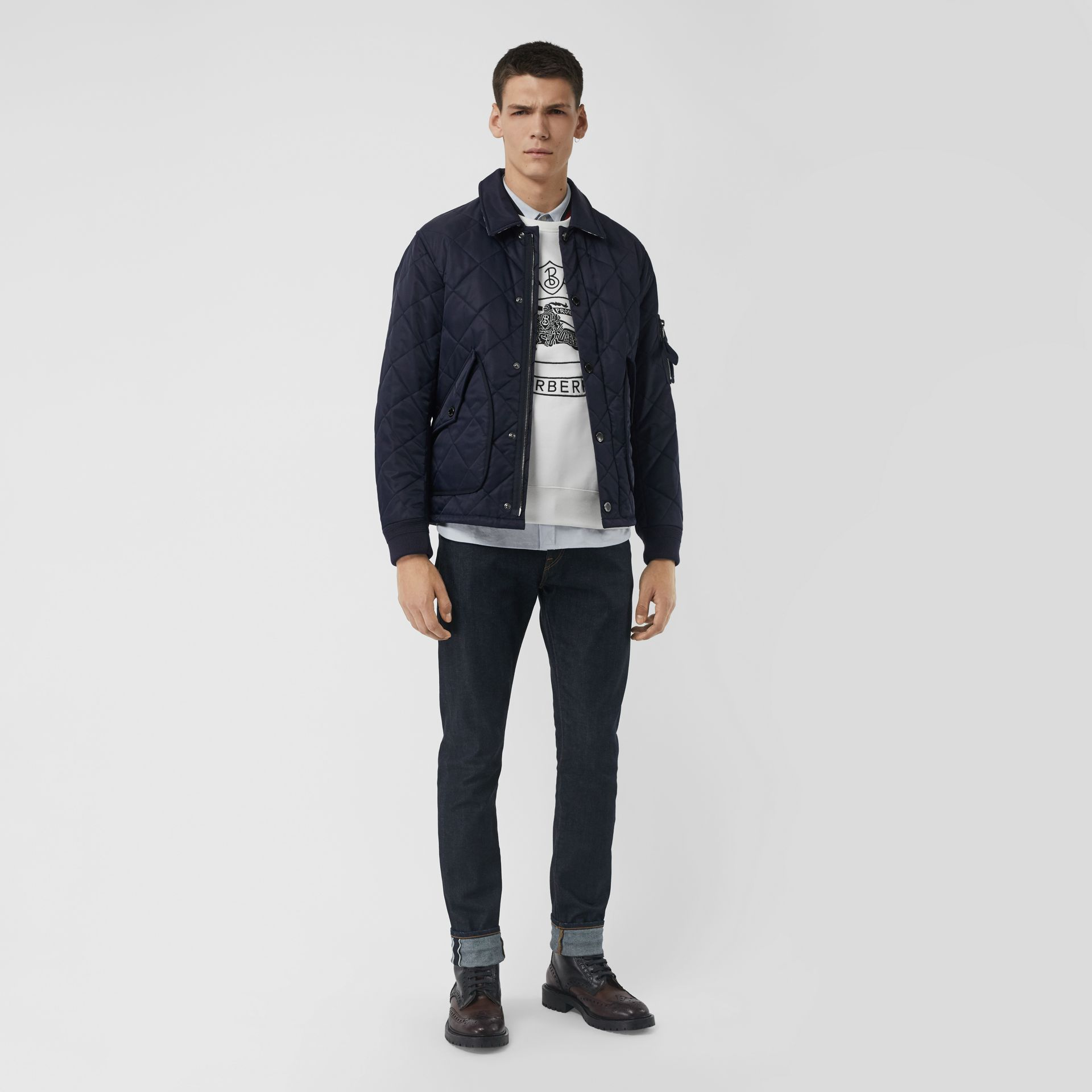 Diamond Quilted Jacket in Navy - Men | Burberry Singapore - gallery image 0