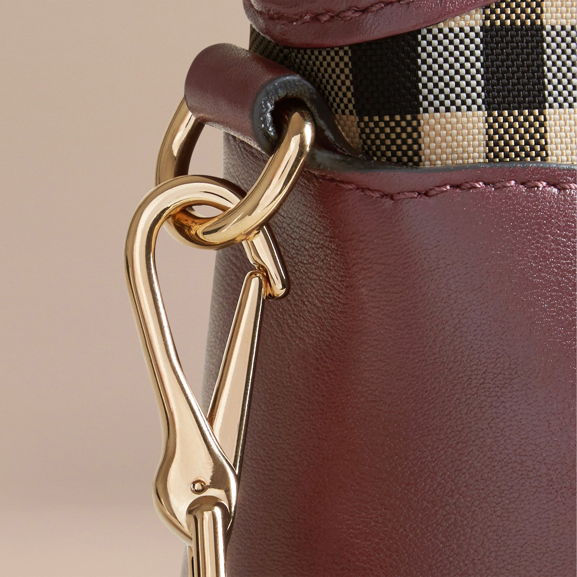 Honey/deep claret Horseferry Check and Leather Clutch Bag Honey/deep Claret - gallery image 7