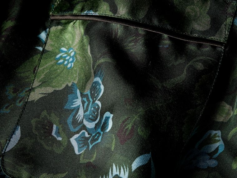 Forest green Short-sleeved Floral Print Silk Pyjama-style Shirt Forest Green - cell image 1