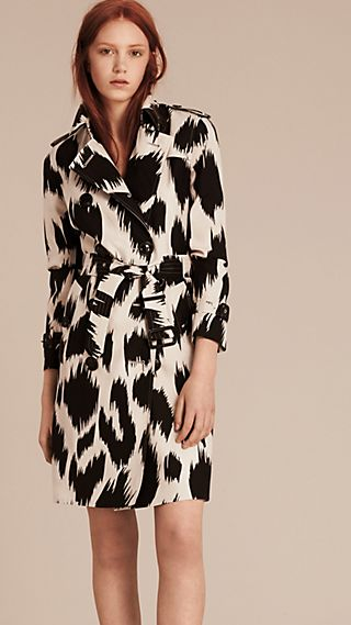 Animal Print Silk Wool Trench Coat