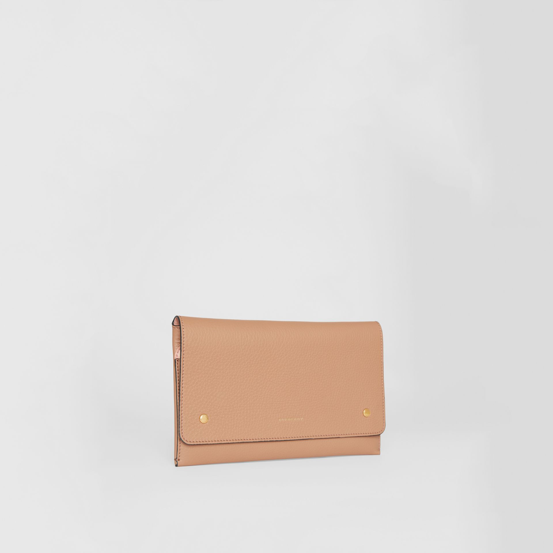 Two-tone Leather Wristlet Clutch in Light Camel - Women | Burberry - gallery image 4