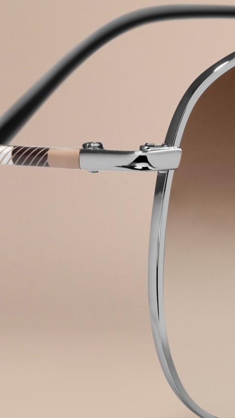 Nickel Check Arm Aviator Sunglasses Nickel - Image 2