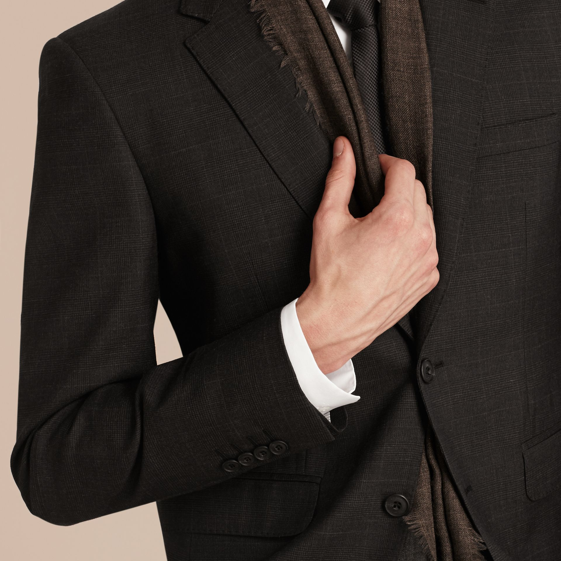 Charcoal Modern Fit Check Wool Part-canvas Suit Charcoal - gallery image 6
