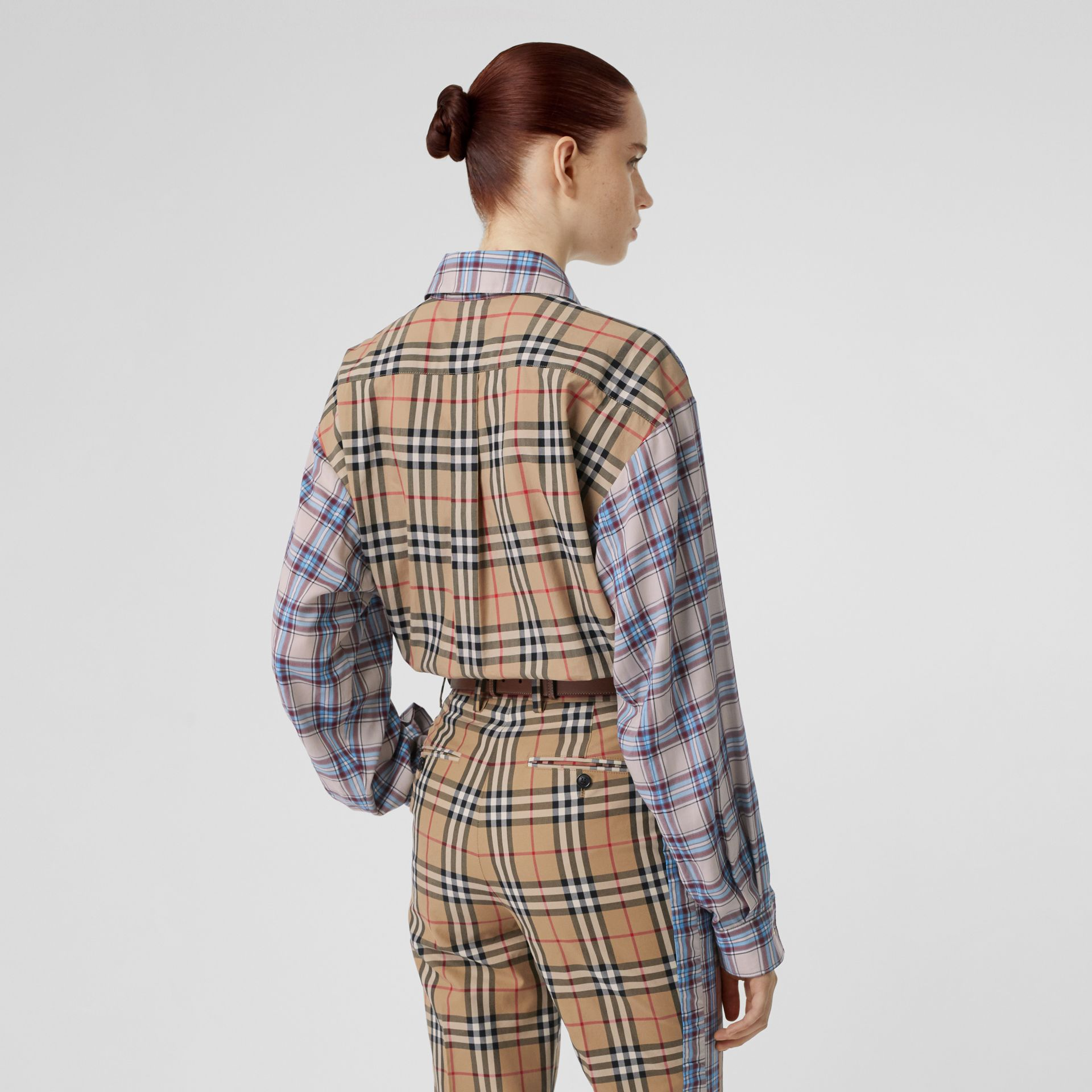 Vintage Check Panel Check Voile Shirt in Pale Blue - Women | Burberry United States - gallery image 2