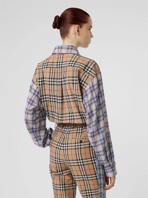 Vintage Check Panel Check Voile Shirt in Pale Blue - Women | Burberry - cell image 2