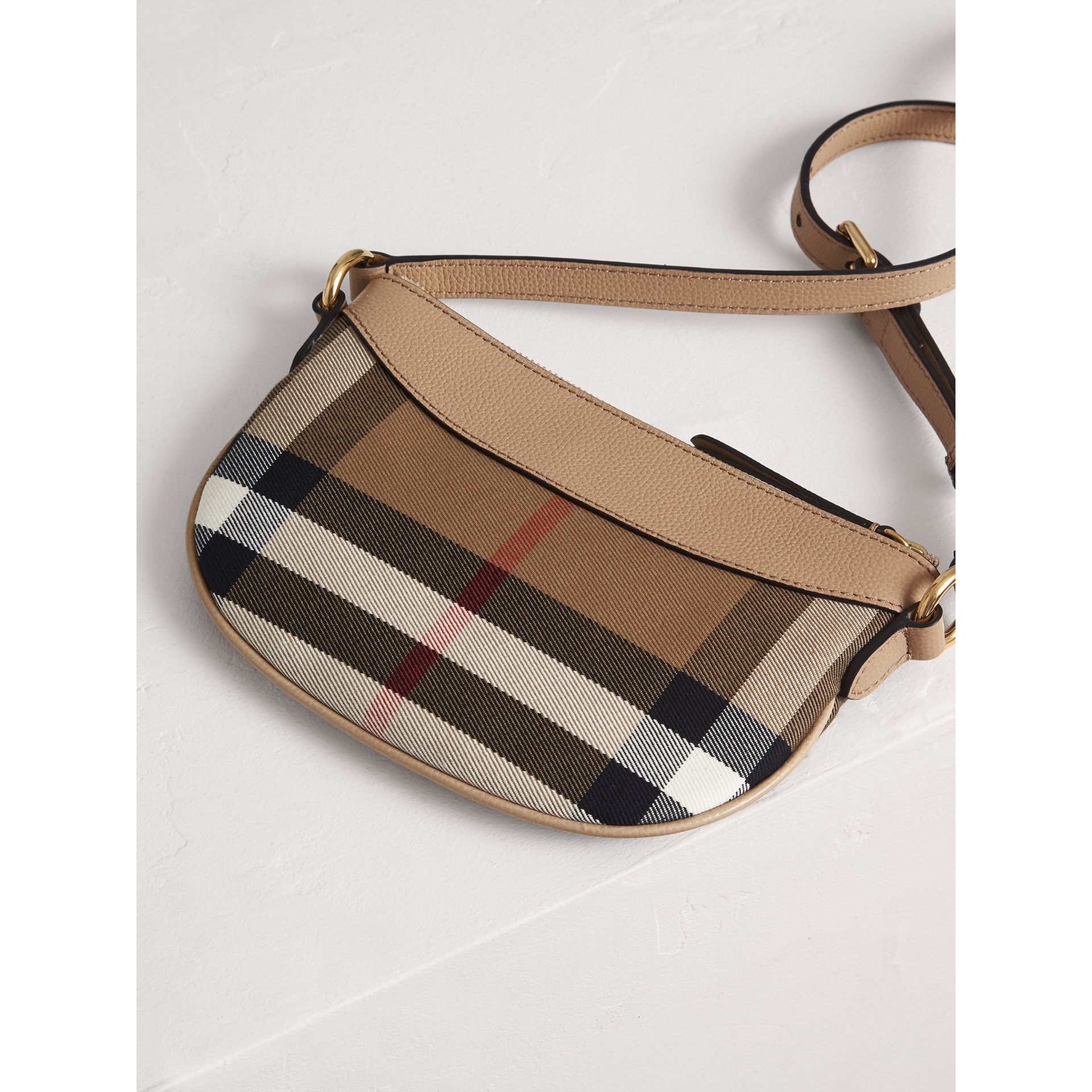 House Check and Leather Crossbody Bag in Chino - Girl | Burberry United Kingdom - gallery image 2