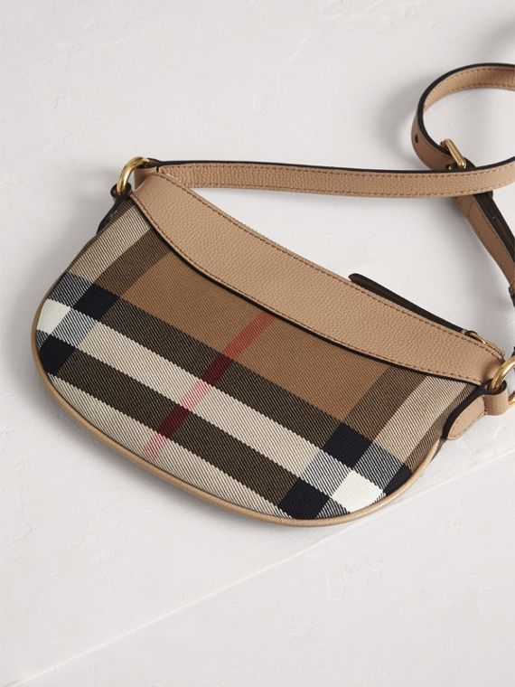 House Check and Leather Crossbody Bag in Chino - Girl | Burberry United Kingdom - cell image 2