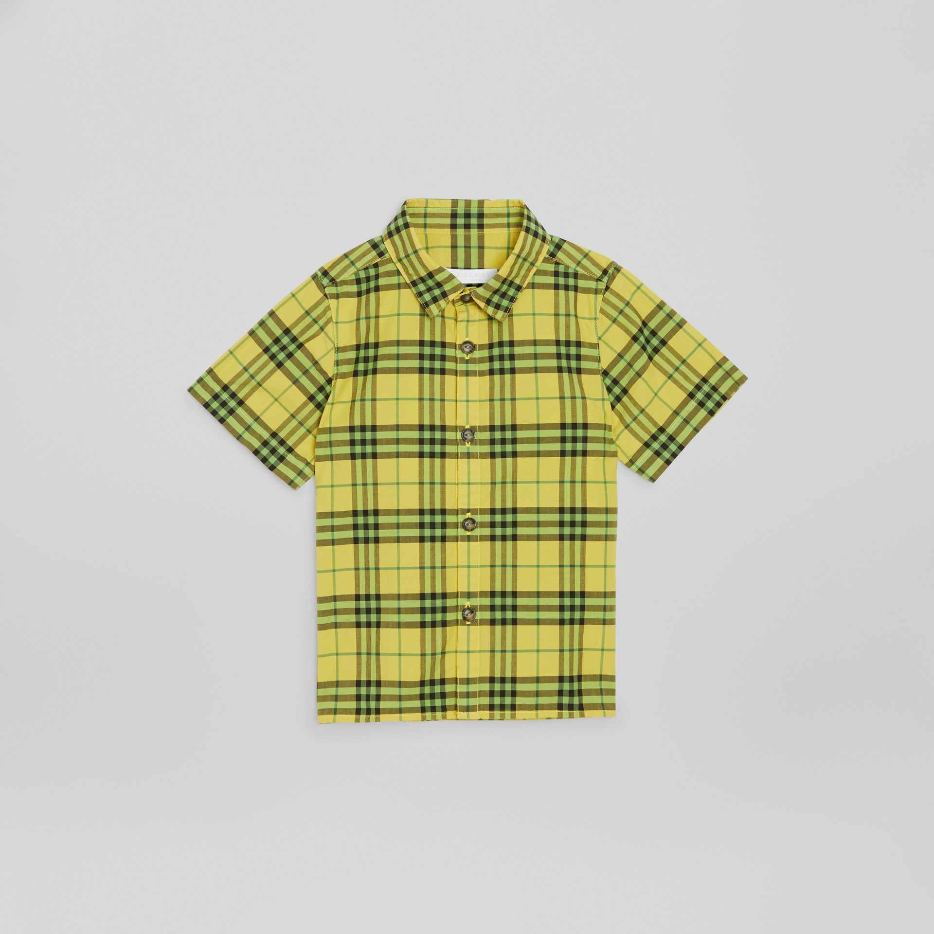 Short-sleeve Check Cotton Shirt in Citron | Burberry - gallery image 0