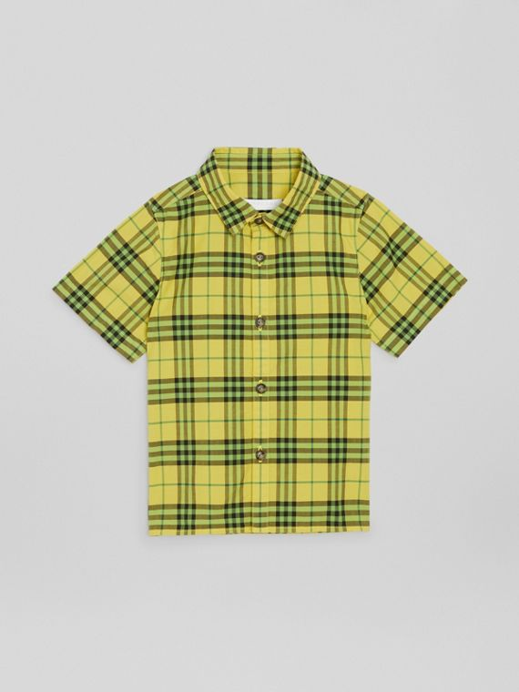 Short-sleeve Check Cotton Shirt in Citron