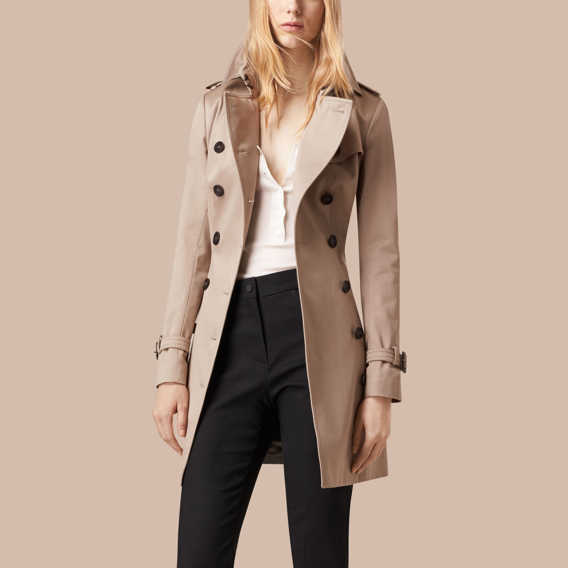 Stone Cotton Sateen Trench Coat Stone - gallery image 3