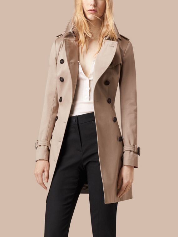 Stone Cotton Sateen Trench Coat Stone - cell image 2