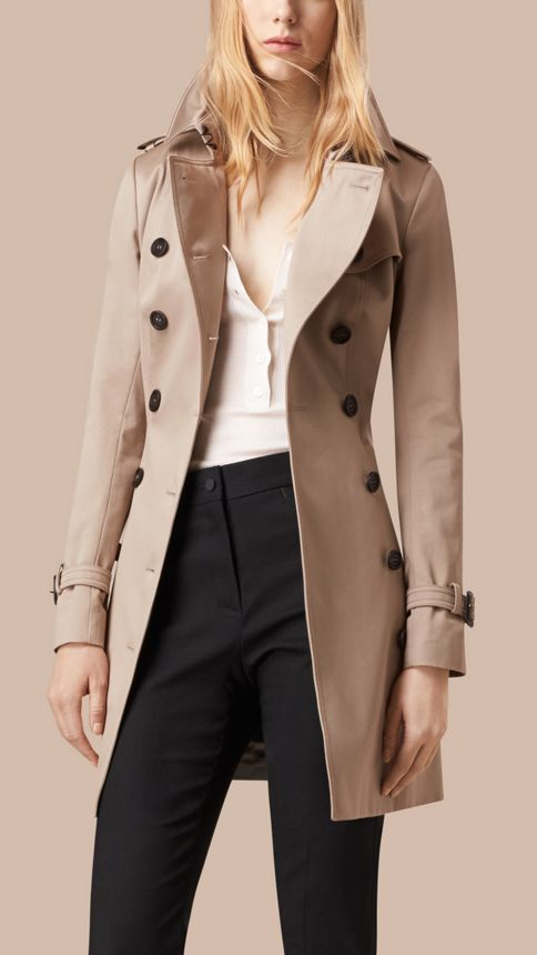 Stone Cotton Sateen Trench Coat Stone - Image 3