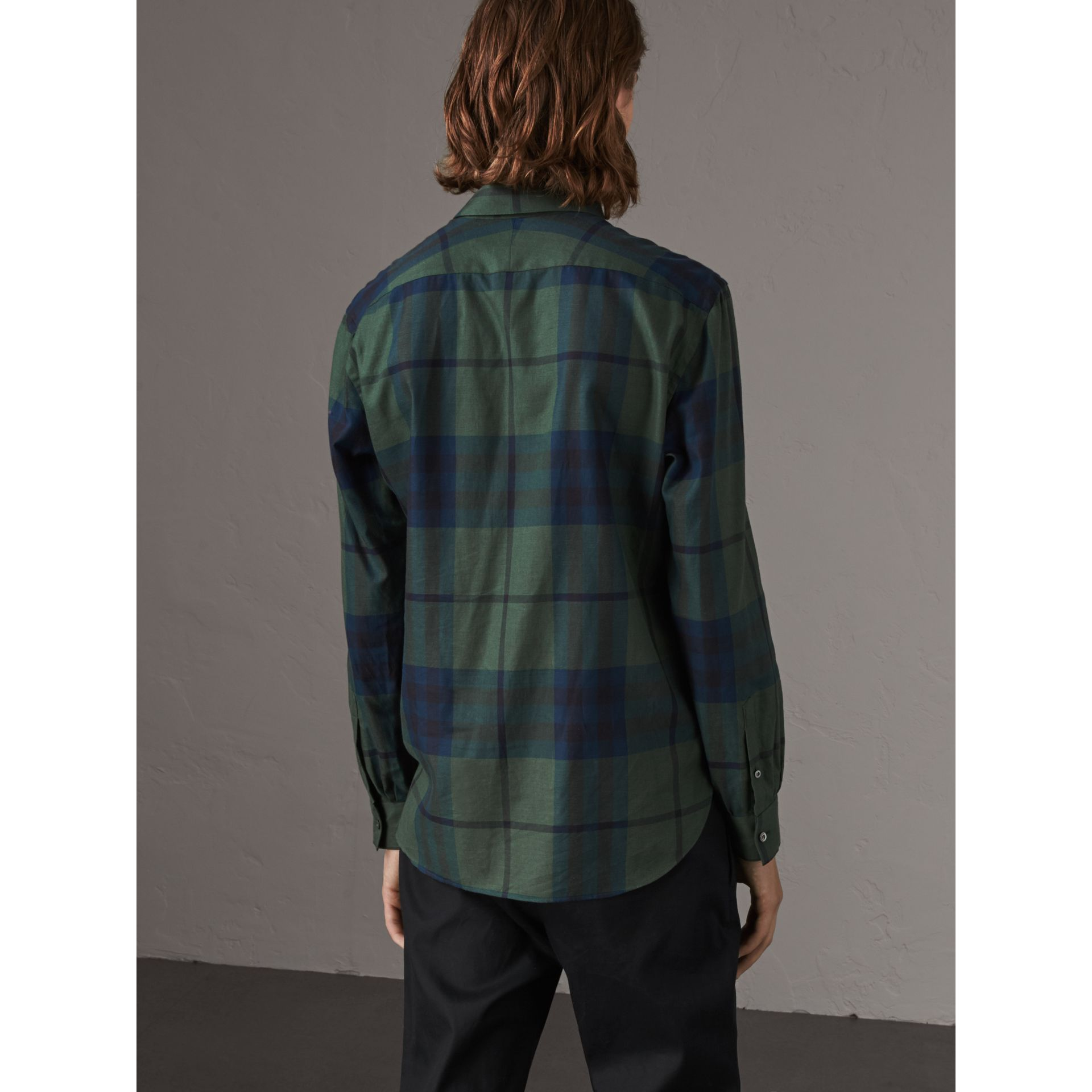 Check Cotton Cashmere Flannel Shirt in Forest Green - Men | Burberry - gallery image 3
