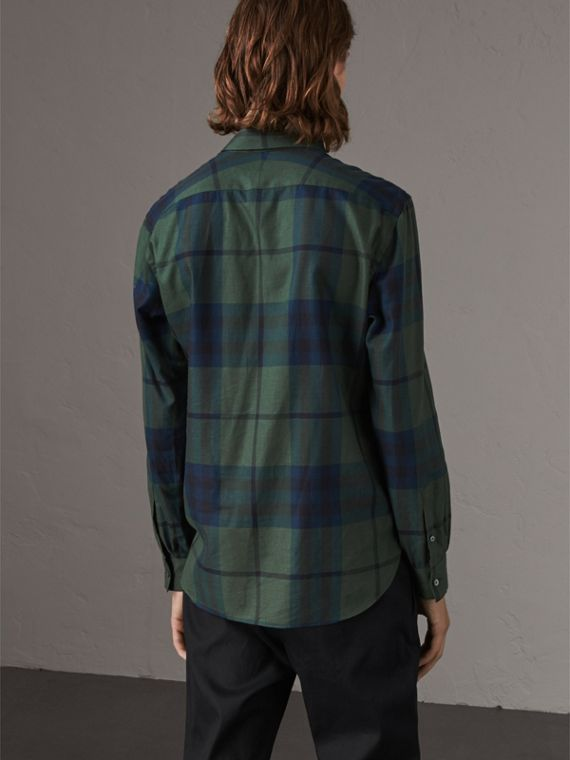 Check Cotton Cashmere Flannel Shirt in Forest Green - Men | Burberry Singapore - cell image 2