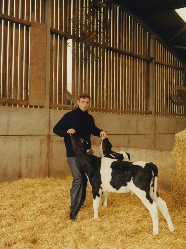 Iain Brady (left), cow farmer. Photographed in Chester, wearing a fisherman sweater.<br>Matthew Fairbairn (right), goat farmer. Photographed in Colchester, wearing a cashmere roll-neck.