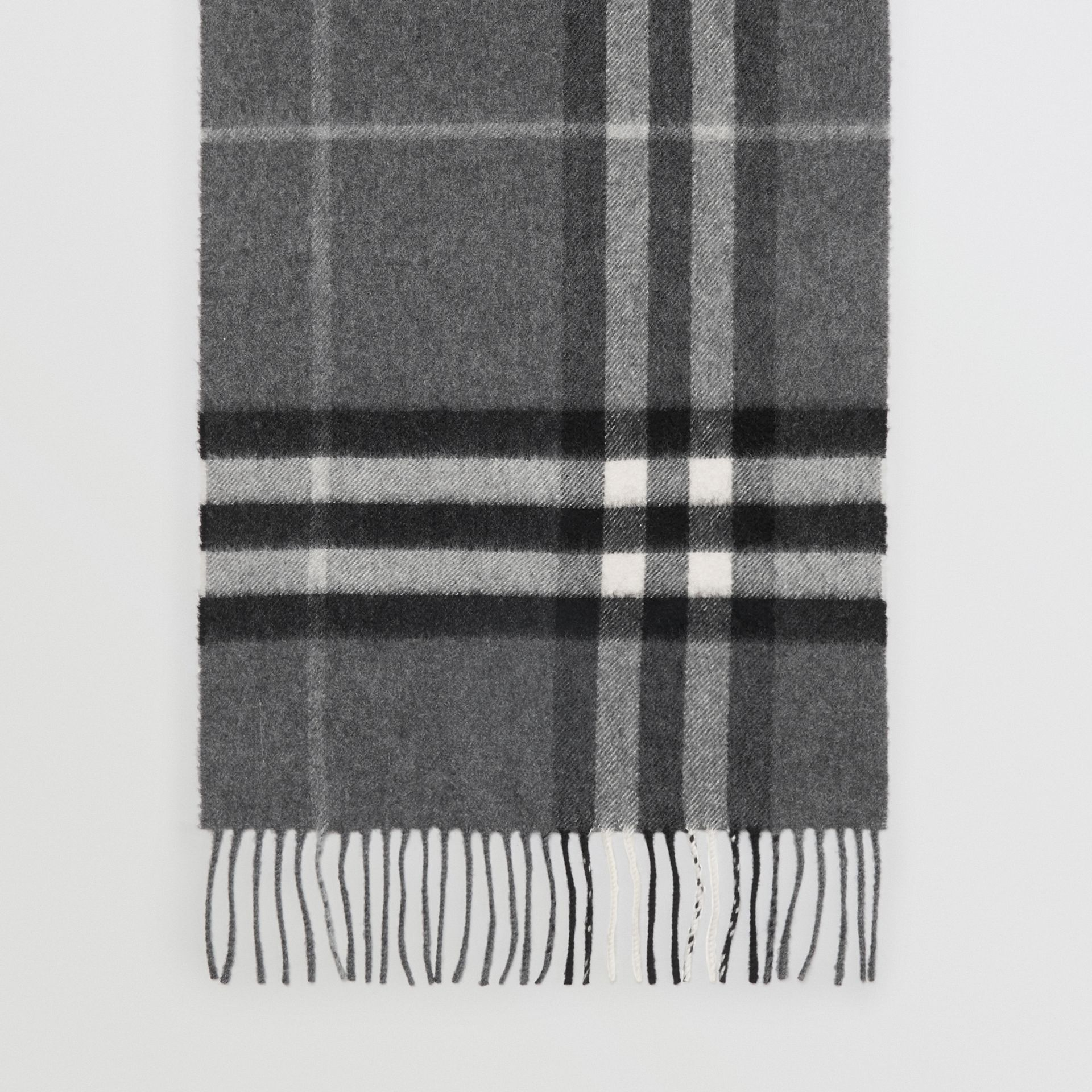 The Classic Check Cashmere Scarf in Mid Grey | Burberry United Kingdom - gallery image 4
