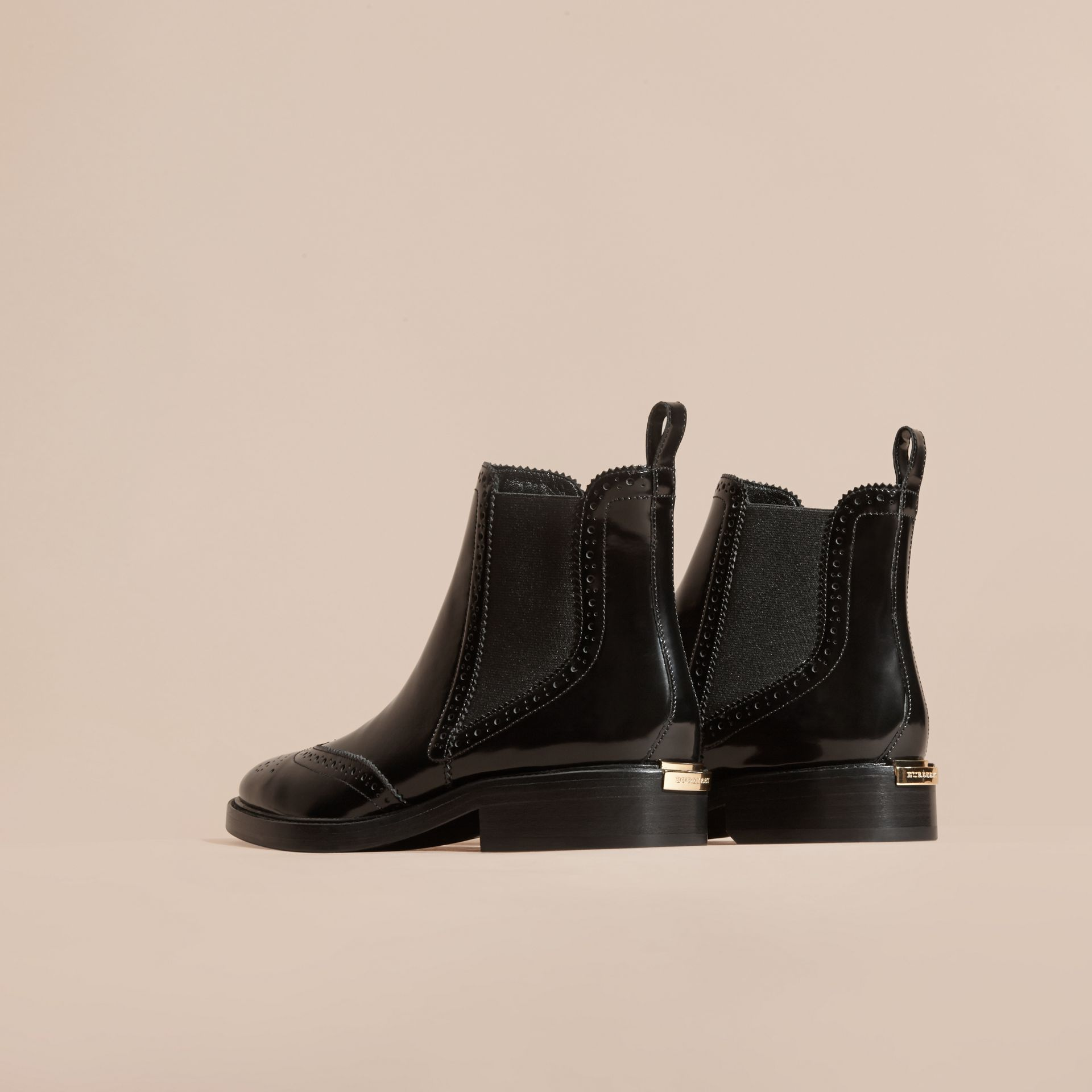 Black Leather Wingtip Chelsea Boots - gallery image 5