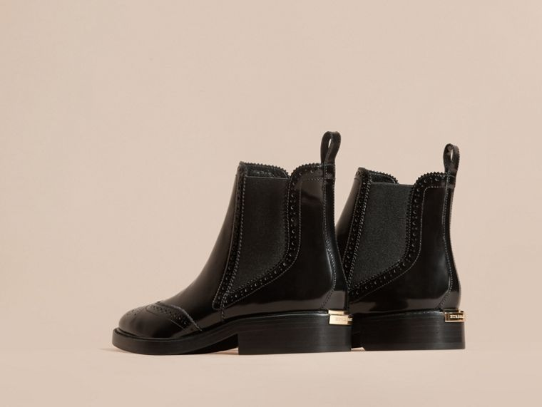Leather Wingtip Chelsea Boots in Black - Women | Burberry - cell image 4