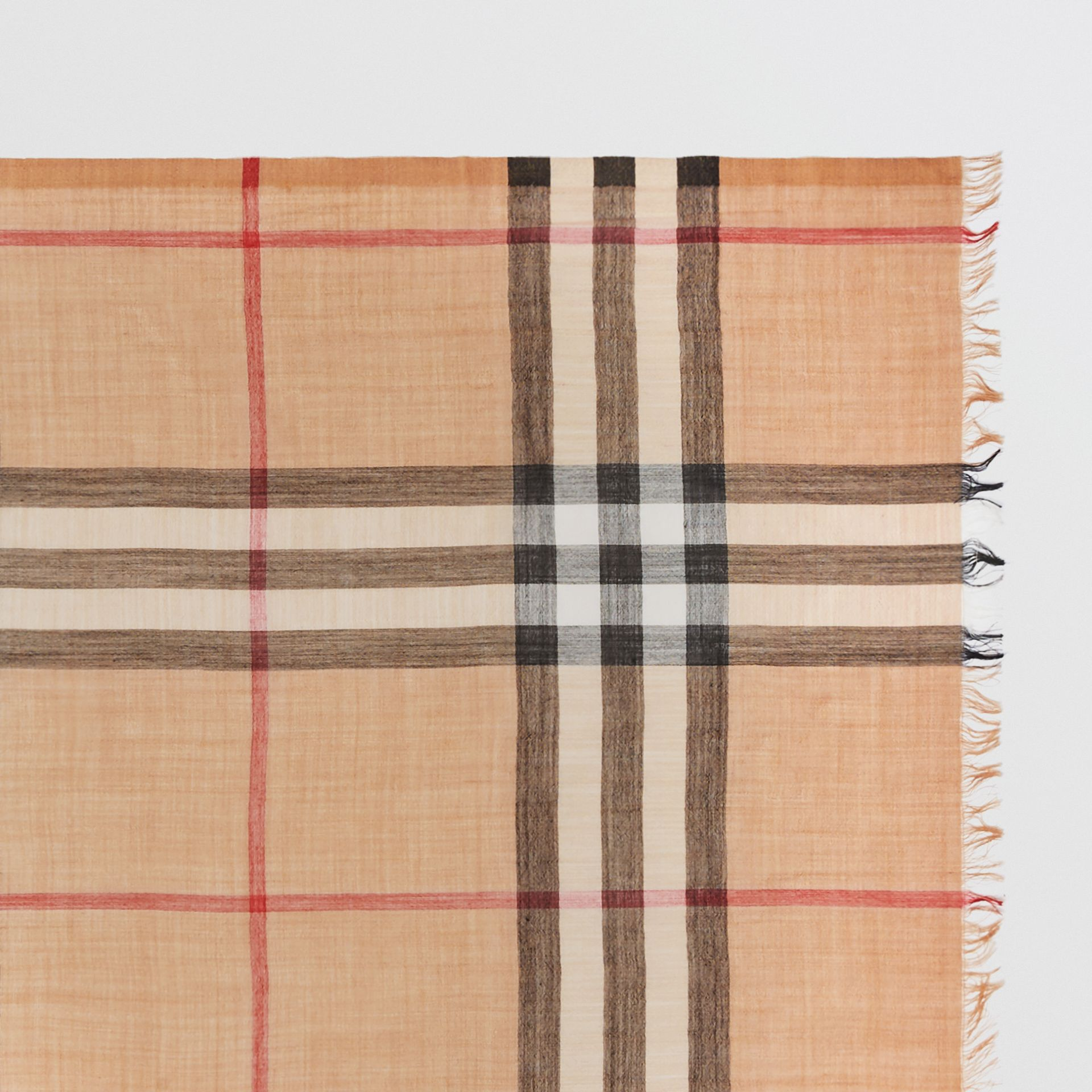 Lightweight Check Wool and Silk Scarf in Camel | Burberry Australia - gallery image 1