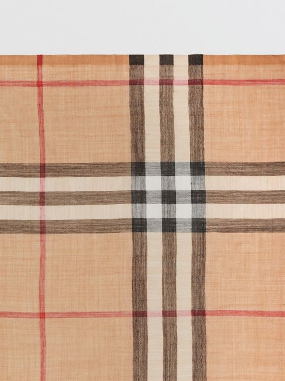 Lightweight Check Wool and Silk Scarf in Camel | Burberry Canada - cell image 1