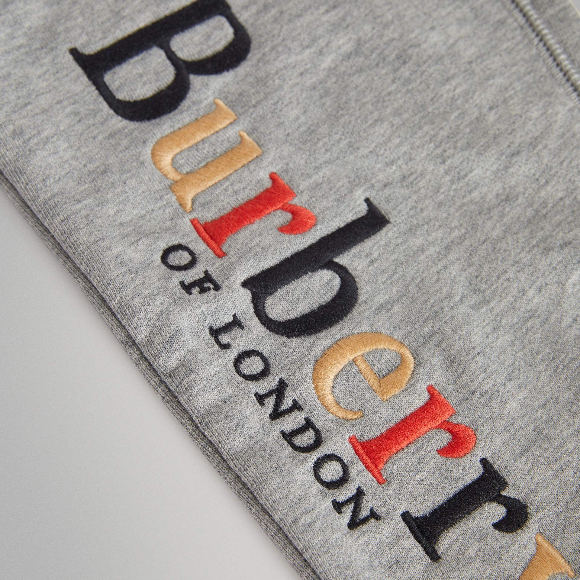 Embroidered Archive Logo Cotton Trackpants in Grey Melange | Burberry - gallery image 1