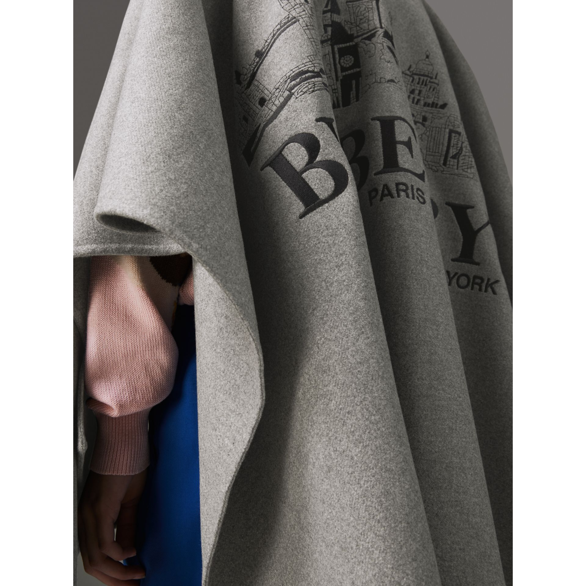 Embroidered Skyline Cashmere Poncho in Pale Grey Melange - Women | Burberry Singapore - gallery image 1
