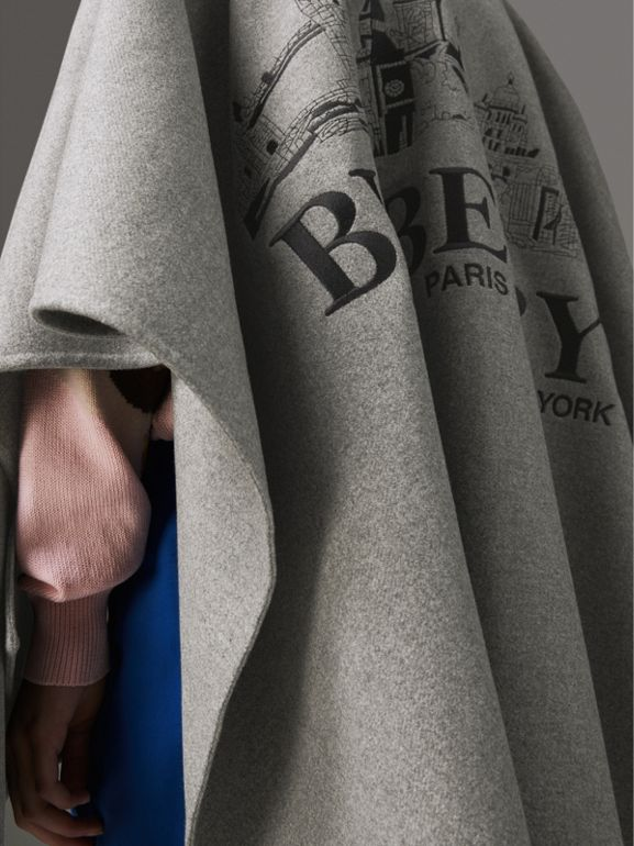 Embroidered Skyline Cashmere Poncho in Pale Grey Melange - Women | Burberry Singapore - cell image 1