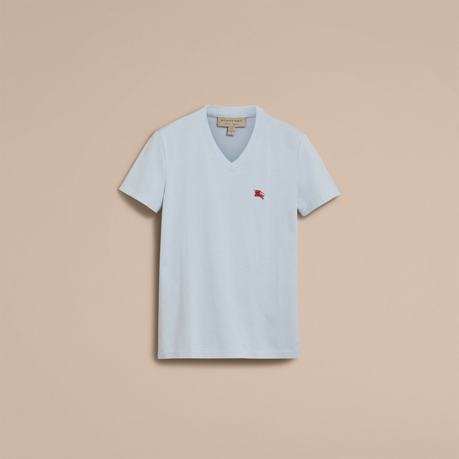Cotton V-neck T-shirt in Pale Opal Blue - Men | Burberry - gallery image 4