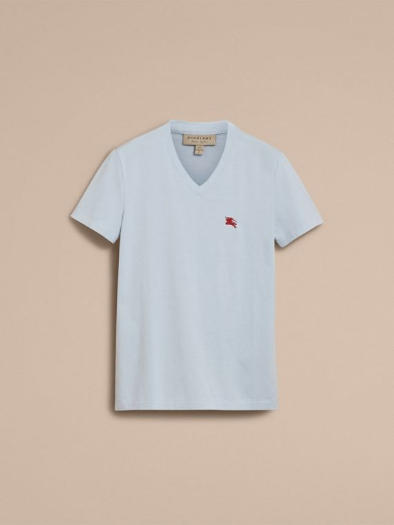 Cotton V-neck T-shirt in Pale Opal Blue - Men | Burberry - cell image 3