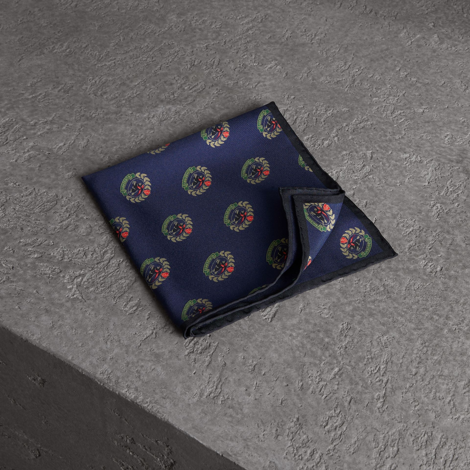 Archive Logo Print Silk Pocket Square in Navy - Men | Burberry Singapore - gallery image 0