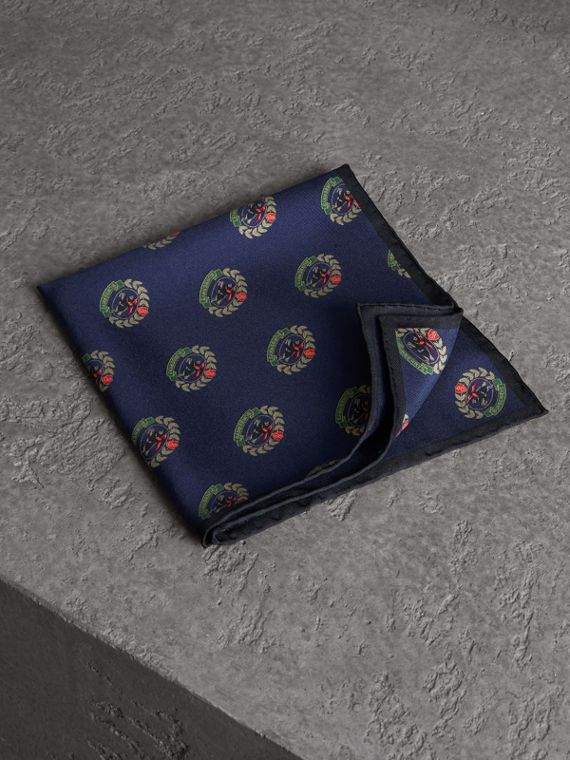 Archive Logo Print Silk Pocket Square in Navy