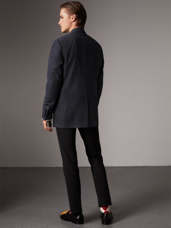 Pinstripe Wool Tailored Jacket in Navy - Men | Burberry Australia - cell image 2