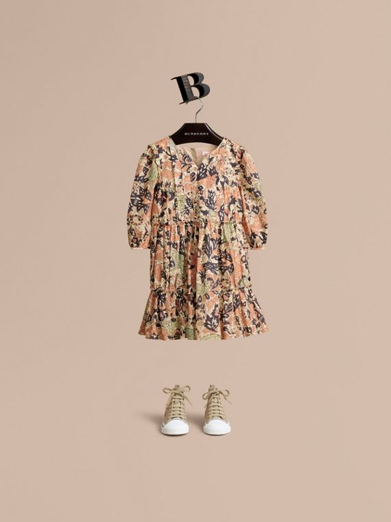 Beasts Print Cotton Gathered Dress - Girl | Burberry Singapore