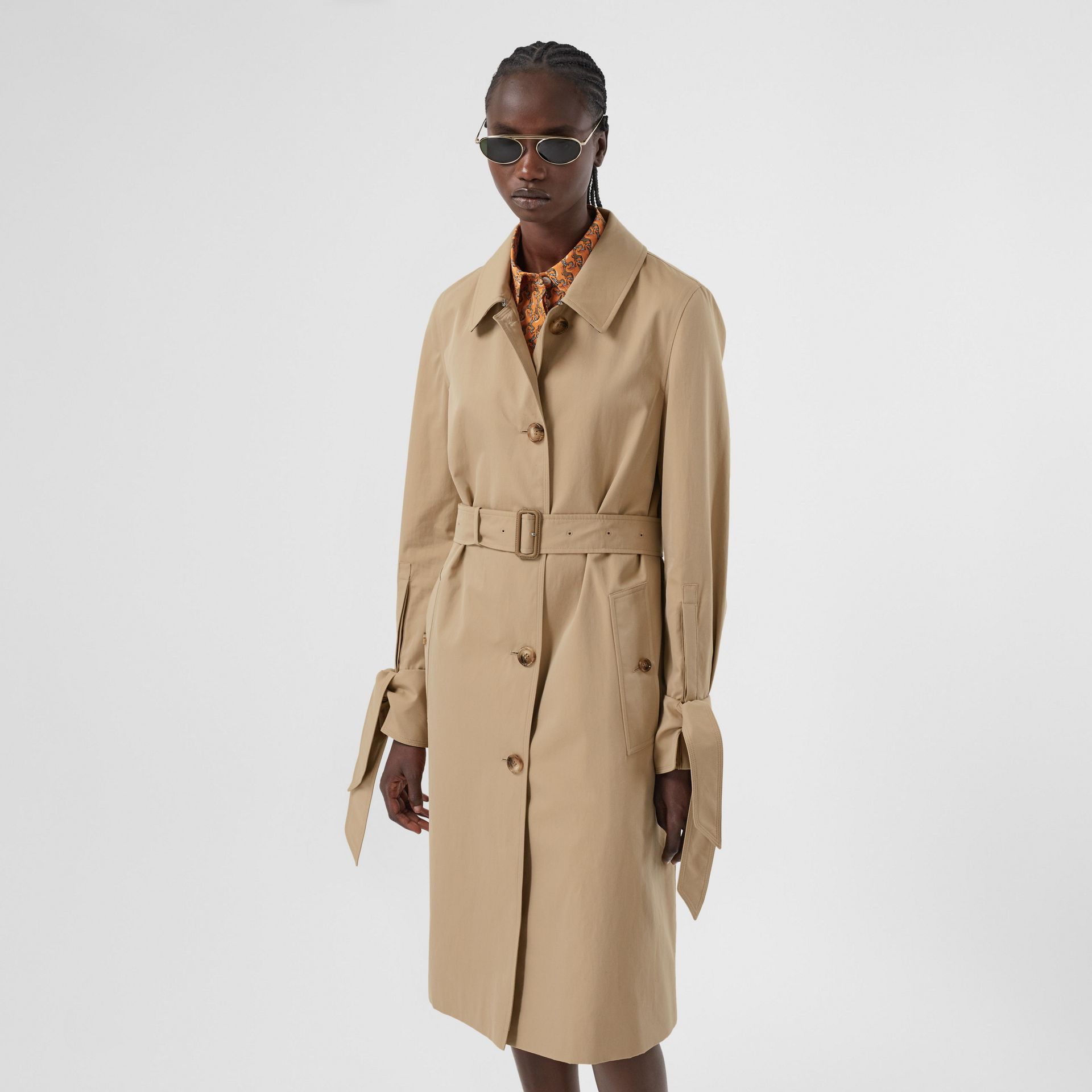 Tropical Gabardine Car Coat in Honey - Women | Burberry - gallery image 6