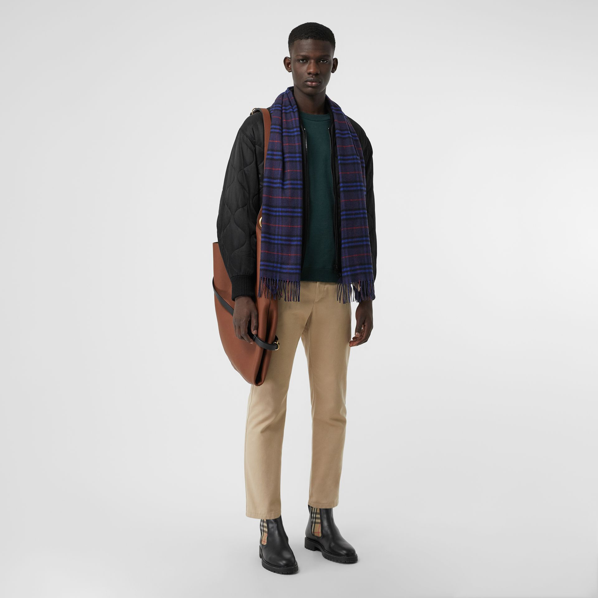 The Classic Vintage Check Cashmere Scarf in Bright Navy | Burberry Canada - gallery image 3
