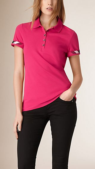 Check Detail Cotton Piqué Polo Shirt