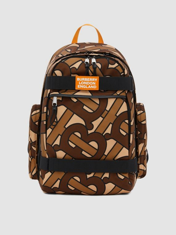 Large Leather Trim Monogram Print Nevis Backpack in Bridle Brown