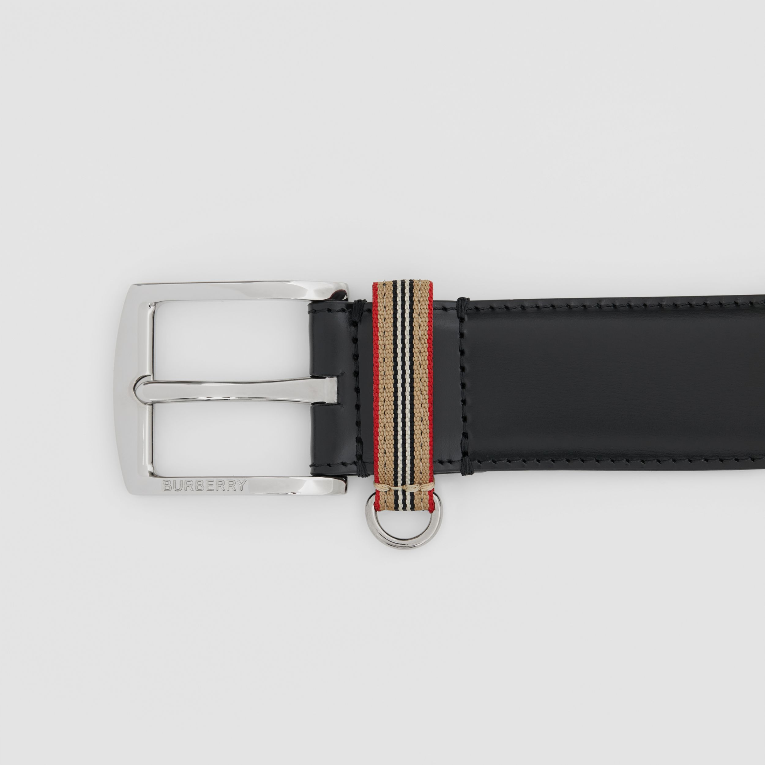 Icon Stripe Detail Leather Belt in Black - Men | Burberry - 2