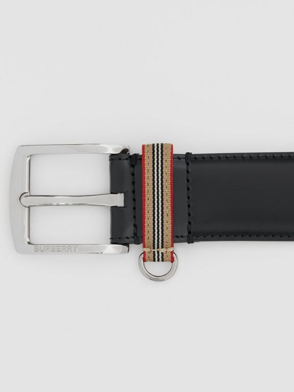 Icon Stripe Detail Leather Belt in Black | Burberry United Kingdom - cell image 1