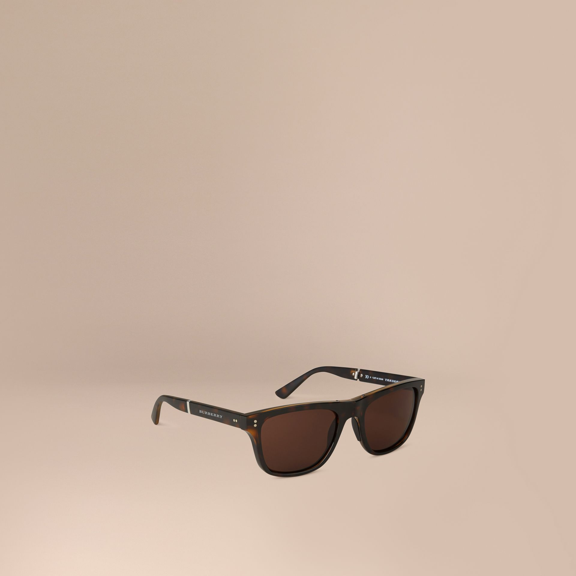 Folding Rectangular Frame Sunglasses in Dark Brown - Men | Burberry United Kingdom - gallery image 1