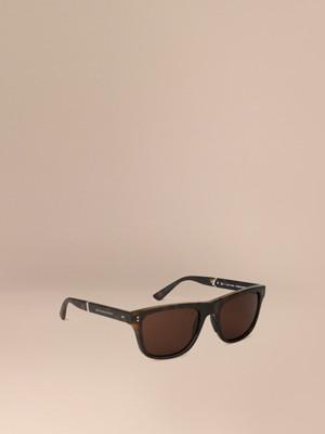 burberry men glasses 8y1m  Folding Rectangular Frame Sunglasses Dark Brown