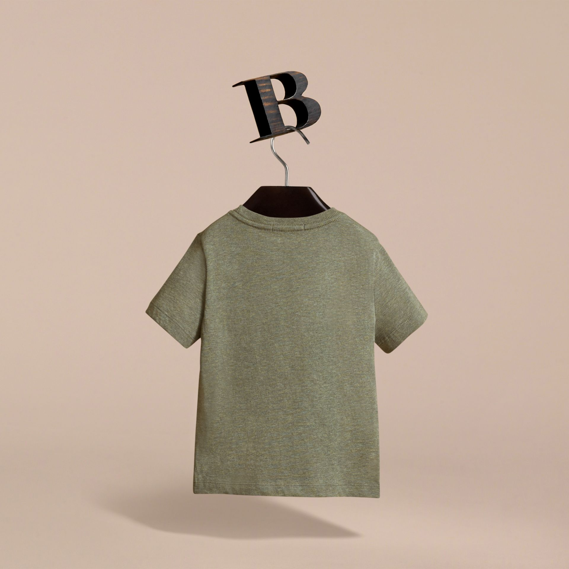 Check Pocket Cotton T-shirt in Khaki Green | Burberry - gallery image 4