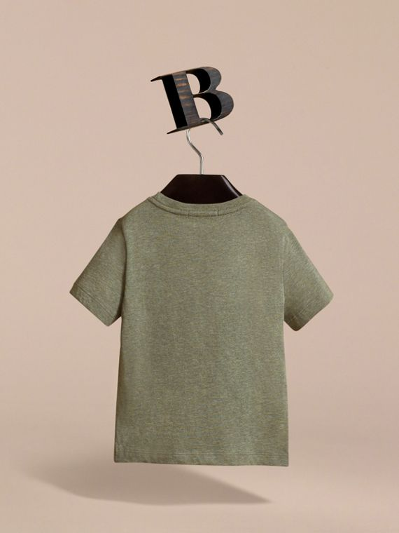 Check Pocket Cotton T-shirt in Khaki Green | Burberry - cell image 3