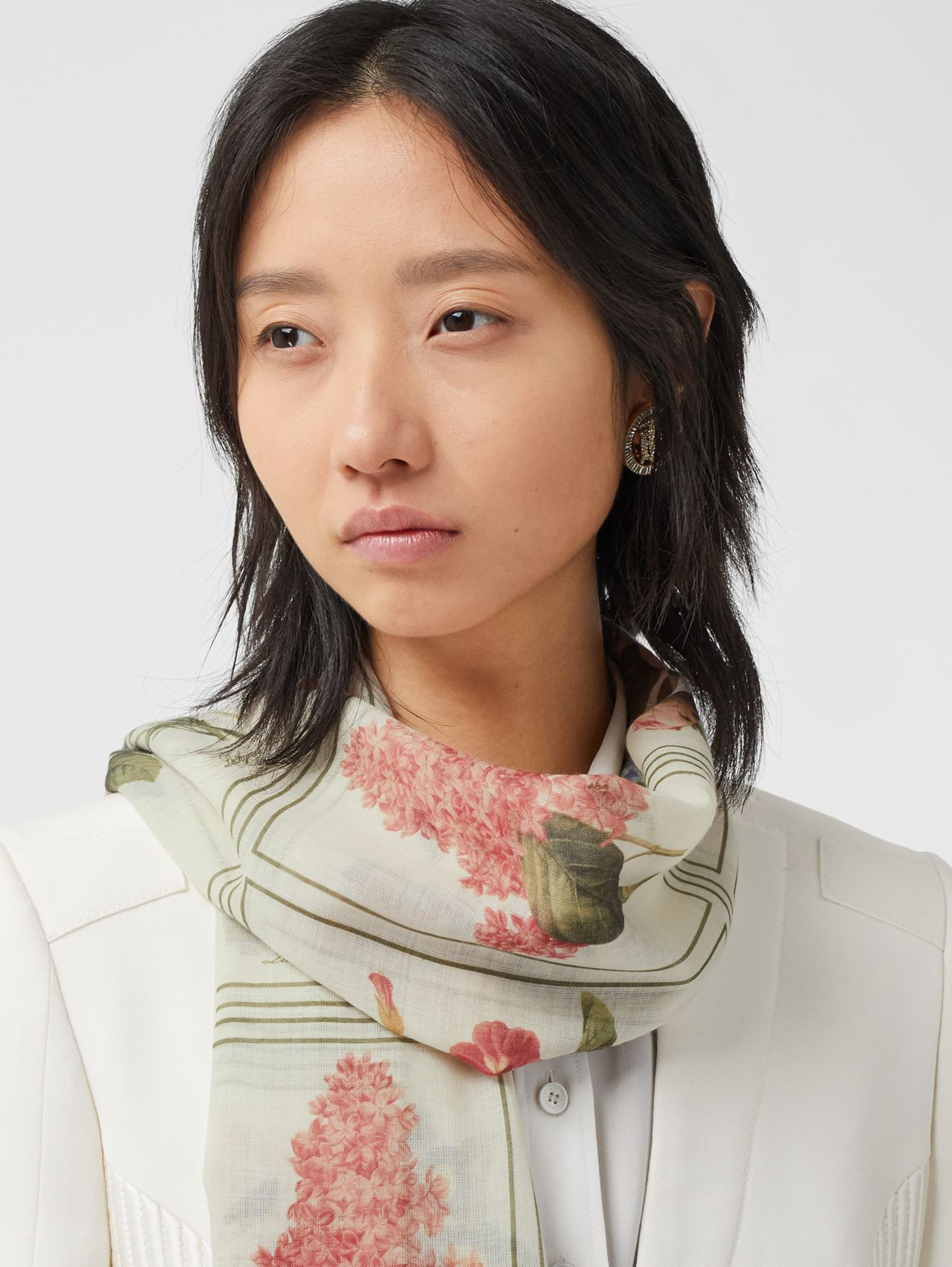 Botanical and Monogram Print Silk Wool Scarf (Pale Copper Pink)