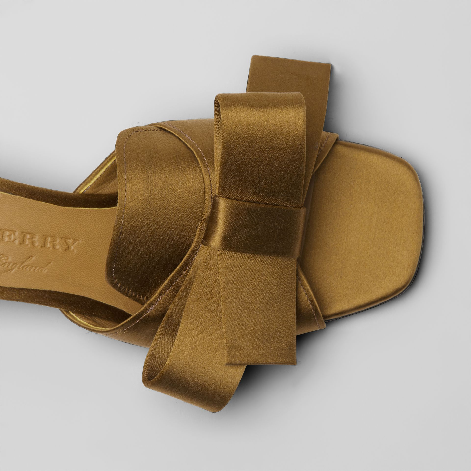 Bow Detail Satin Block-heel Mules in Antique Gold - Women | Burberry - gallery image 1