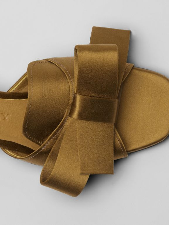 Bow Detail Satin Block-heel Mules in Antique Gold - Women | Burberry - cell image 1