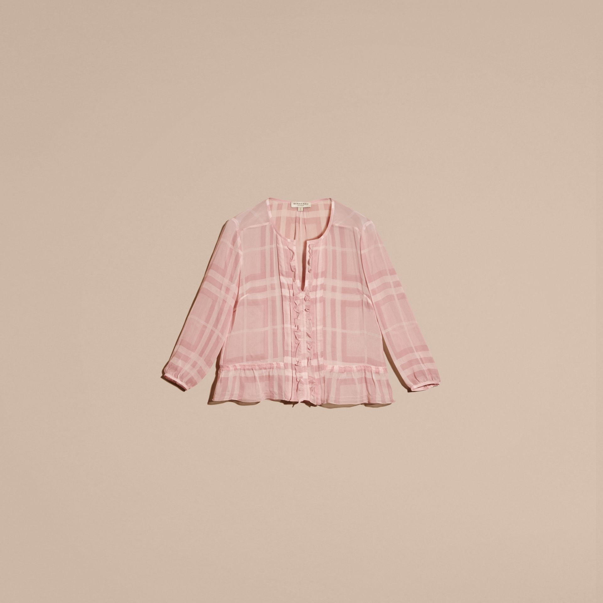 Pale pink Tonal Check Ruffle Detail Silk Crepon Top Pale Pink - gallery image 4