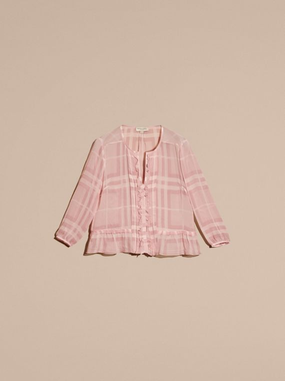 Pale pink Tonal Check Ruffle Detail Silk Crepon Top Pale Pink - cell image 3