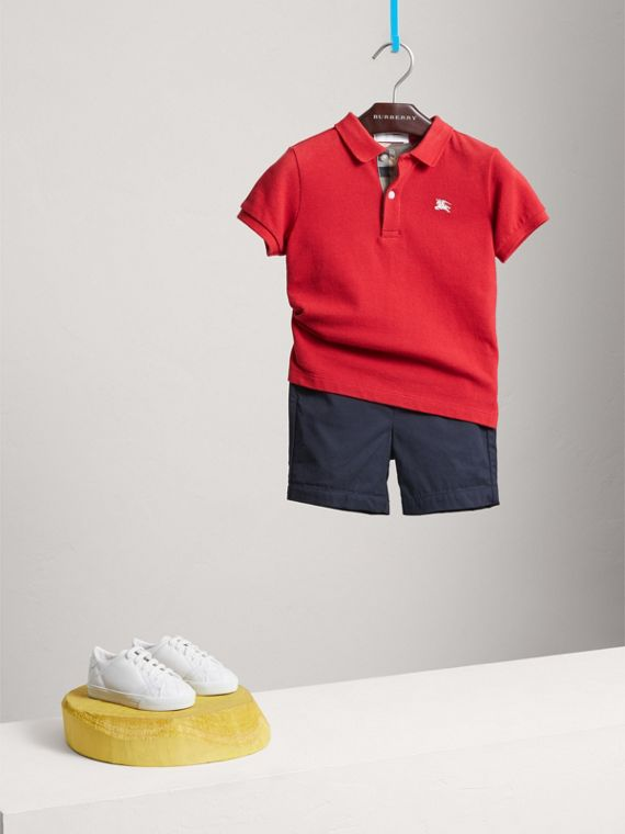 Check Placket Polo Shirt in Military Red - Boy | Burberry - cell image 2